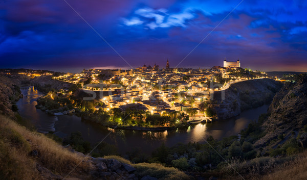 Toledo skyline after sunset, Castilla-La Mancha, Spain Stock photo © fisfra