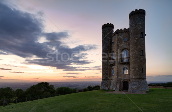 Broadway Tower with valley view after sunset Cotswolds, UK Stock photo © fisfra
