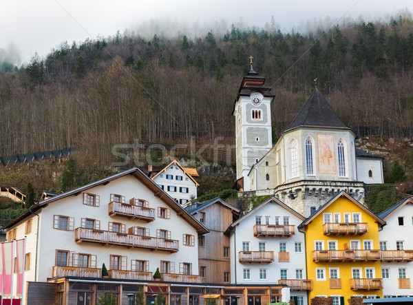 Történelmi épületek Alpok tájkép templom hegyek Stock fotó © fisfra