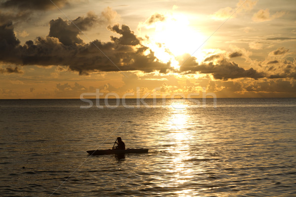 Sunset at South China Sea with canoe in Phu Quoc close to Duong Dong, Vietnam Stock photo © fisfra