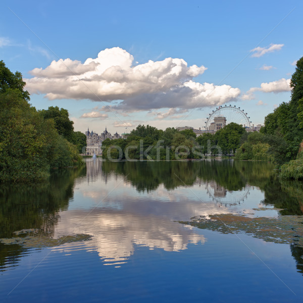 St. James Park with London Eye and Horse Guards Buildings, London, UK Stock photo © fisfra
