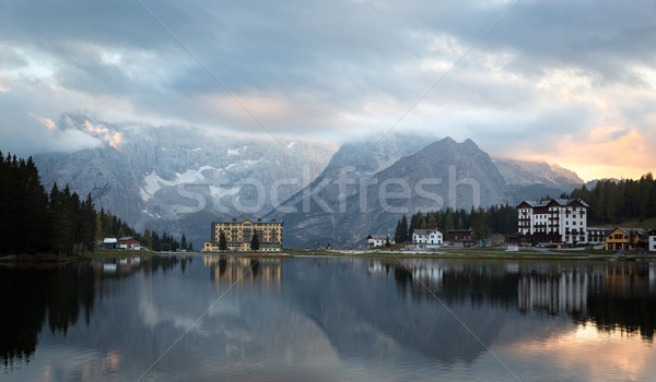 Reflection at Lago Misurina at dawn, Dolomites, Italian Alps Stock photo © fisfra