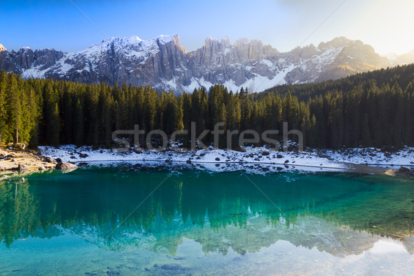 Lago di Carezza (Karersee) with Alps and blue skies, Südtirol,  Stock photo © fisfra