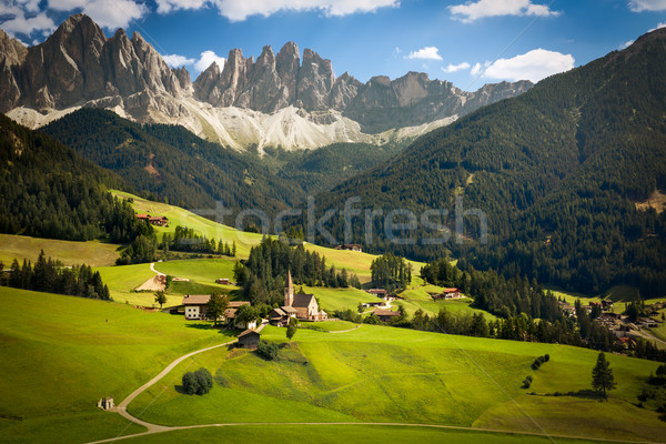 Funes Valley with Geislerspitzen (Gruppo delle Odle), South Tyro Stock photo © fisfra