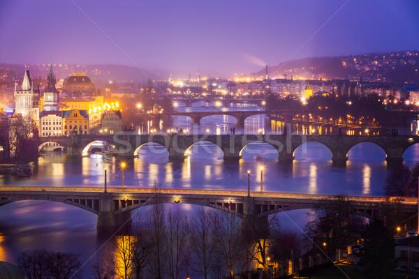 Folyó Prága híd alkonyat Csehország víz Stock fotó © fisfra