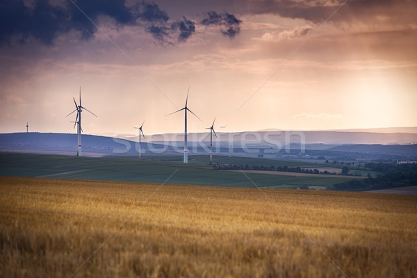 Wind generators near Alzey, Pfalz, Germany Stock photo © fisfra