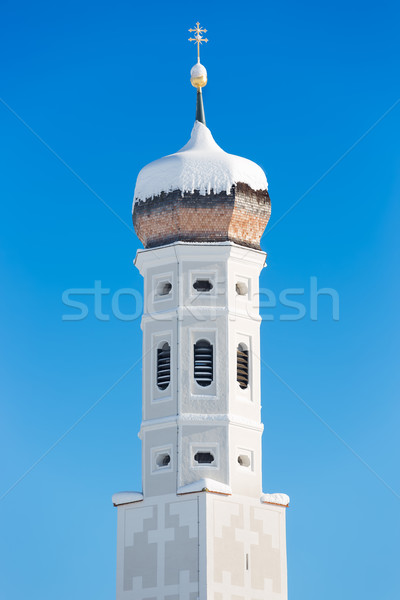 Bell tower of Bavarian Church, German Alps Stock photo © fisfra