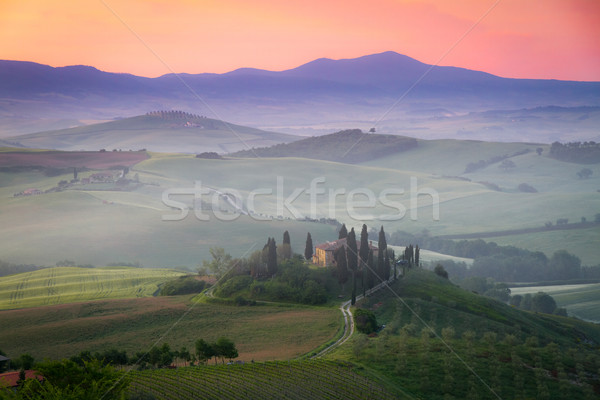 Tuscany Farmhouse Belvedere at dawn, San Quirico d'Orcia, Italy Stock photo © fisfra