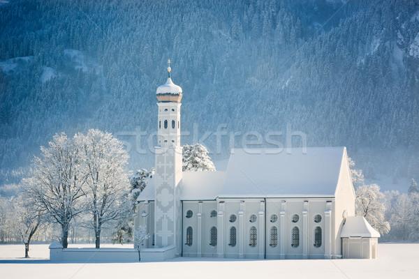 Németország természet hó kék hegyek gyönyörű Stock fotó © fisfra