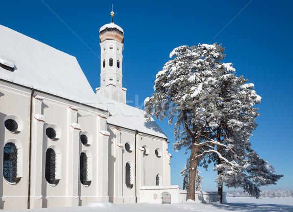 Bavarian Church at wintertime, Germany Stock photo © fisfra