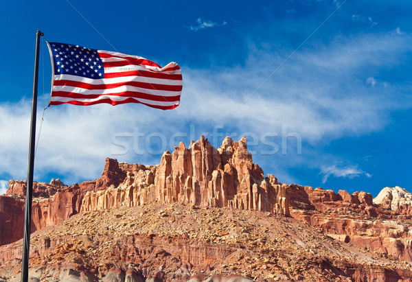 US flag in Capital Reef National Park, Utah, USA Stock photo © fisfra