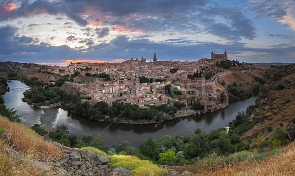 Panoráma alkonyat Spanyolország város naplemente természet Stock fotó © fisfra