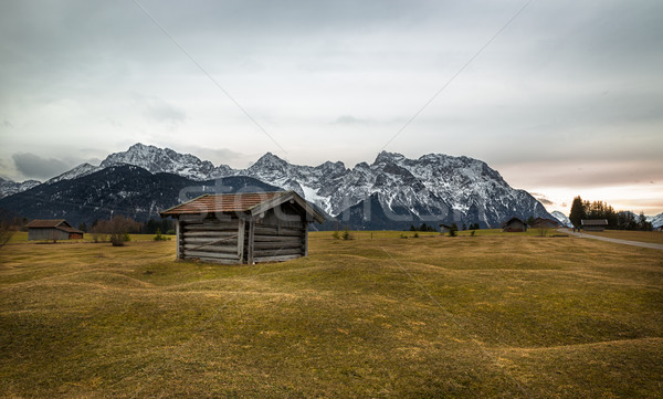 Barn in Alps near Krün, Buckelwiesen, Germany Stock photo © fisfra