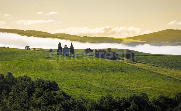 Tuscany landscape in morning mist, Val d'Orcia, Italy Stock photo © fisfra