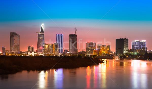 Skyline rivière coucher du soleil Viêt-Nam ciel eau Photo stock © fisfra