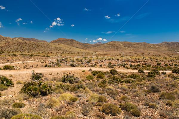 Földút park Spanyolország felhők tájkép sivatag Stock fotó © fisfra