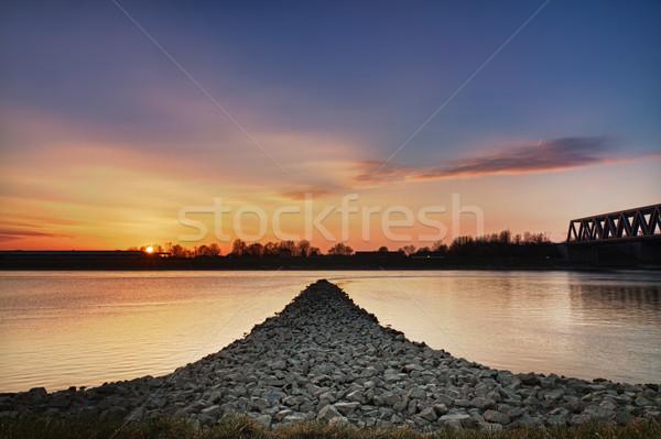 Sunset at Rhein river, Wörth, Germany Stock photo © fisfra