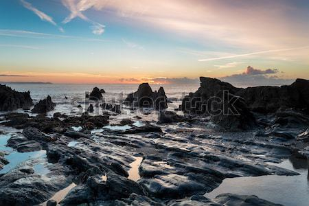 Cornwall faible marée sunrise plage eau Photo stock © flotsom