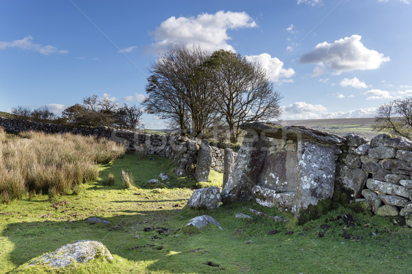 Stoel oude pond landschap steen blauwe hemel Stockfoto © flotsom