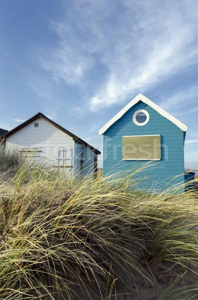 Kék fehér tengerpart hajók homok nyárs Stock fotó © flotsom