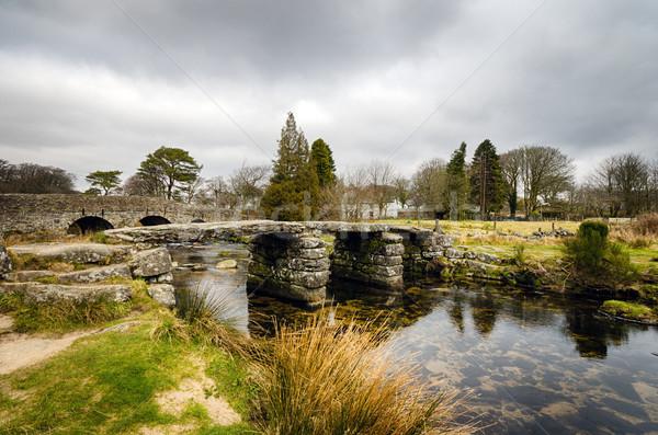 Köprü kış park İngiltere eski manzara Stok fotoğraf © flotsom