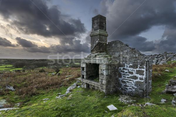 Ruines crépuscule maison coucher du soleil nature paysage Photo stock © flotsom