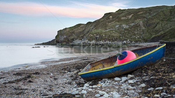 Blue Boat on Shore at Lulworth Cove Stock photo © flotsom