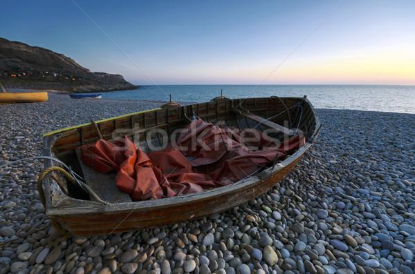 Boten zonsondergang strand Bill water Stockfoto © flotsom
