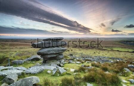 Cornwall gün batımı yıpranmış doğal kaya oluşumu yukarı Stok fotoğraf © flotsom