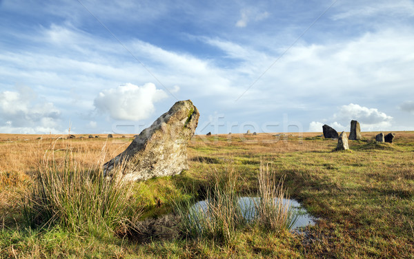 Stannon Stone Circle on Bodmin Moor in Cornwall Stock photo © flotsom