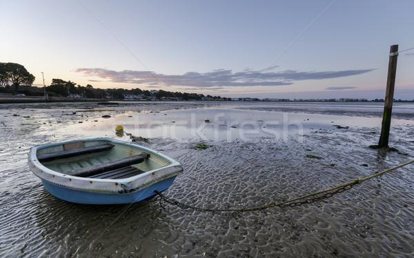 Gündoğumu tekne plaj gün batımı manzara deniz Stok fotoğraf © flotsom