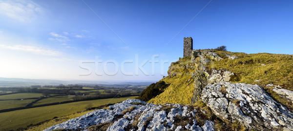 Kerk top weg Blauw aanbidden park Stockfoto © flotsom