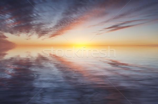 закат Размышления небе облака природы океана Сток-фото © flotsom