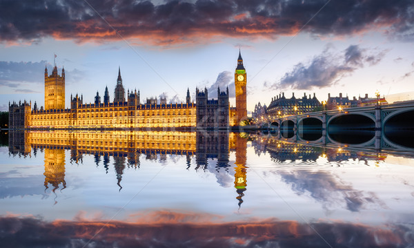 Stock fotó: London · házak · parlament · Westminster · híd · tüzes