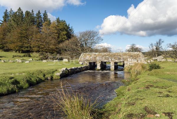 Vieux pierre pont parc arbre nuages Photo stock © flotsom