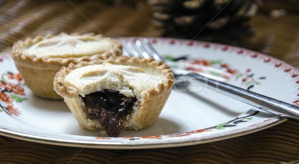 Christmas taarten plaat taart snack gebak Stockfoto © flotsom