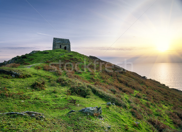 Tête chapelle colline cornwall plage paysage Photo stock © flotsom