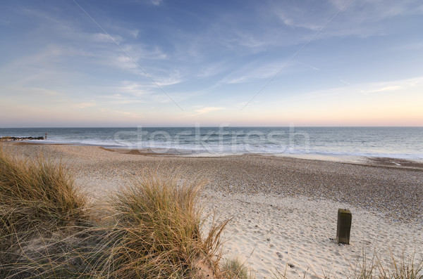 Hoofd strand strandzand hemel zonsondergang landschap Stockfoto © flotsom