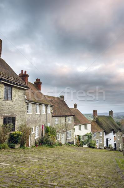 Goud heuvel rij Engels straat Stockfoto © flotsom