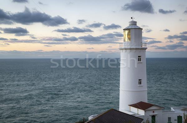 Tête phare nord côte cornwall coucher du soleil Photo stock © flotsom