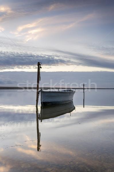 лодка флот сумерки пляж небе пейзаж Сток-фото © flotsom