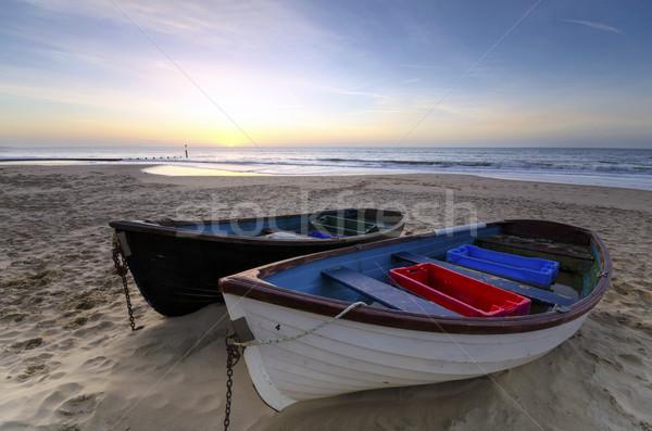 Stockfoto: Vissen · boten · zandstrand · zand · strand · hemel