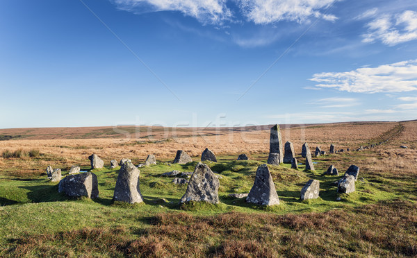 Dartmoor Stone Circle at Down Tor Stock photo © flotsom