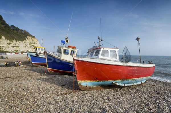 Fishing boats on the beach at Beer in Devon Stock photo © flotsom