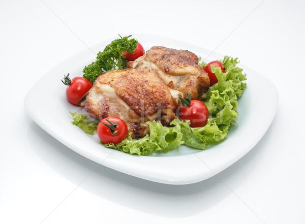 куриные блюдо жареная курица частей пластина помидоров Сток-фото © fogen