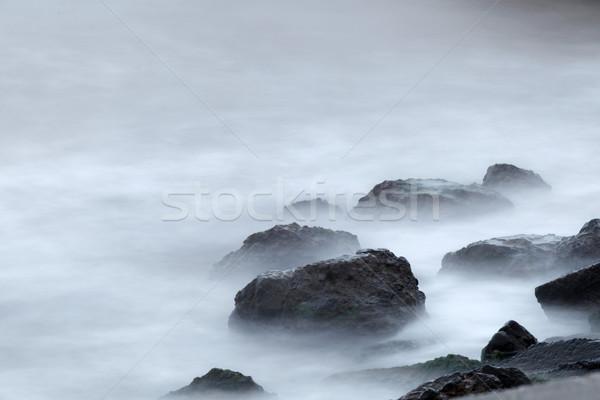 Przeciwmgielne wody rano brzegu morza charakter Zdjęcia stock © fogen