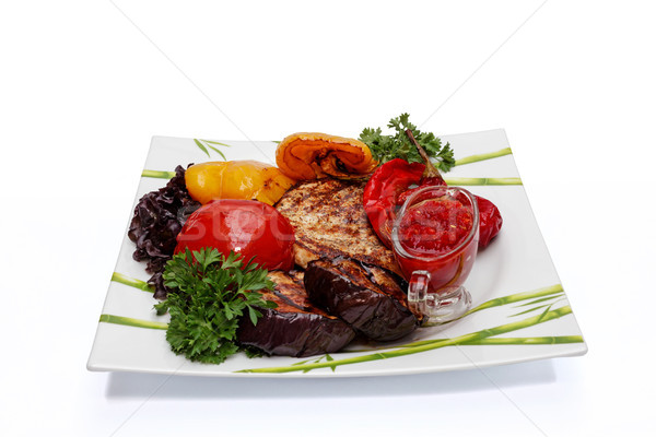 Ready-to-eat steak with baked vegetables Stock photo © fogen