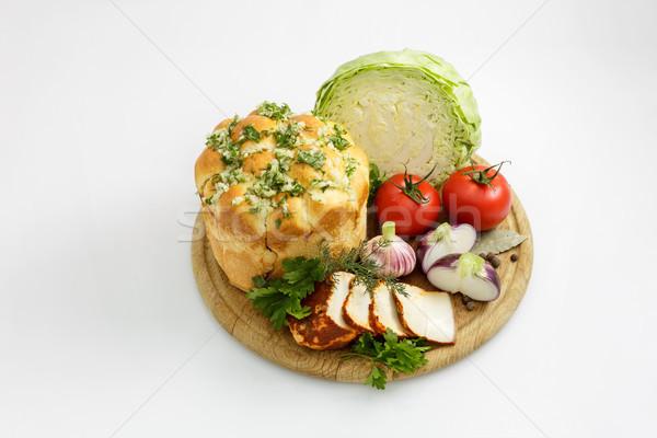 Sebze ekmek natürmort beyaz yeşil kırmızı Stok fotoğraf © fogen