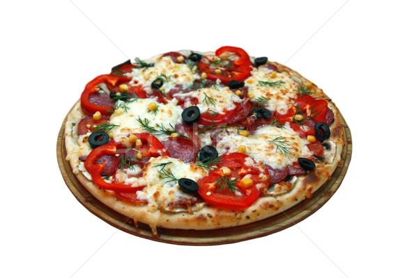 Pizza beyaz restoran akşam yemeği Stok fotoğraf © fogen