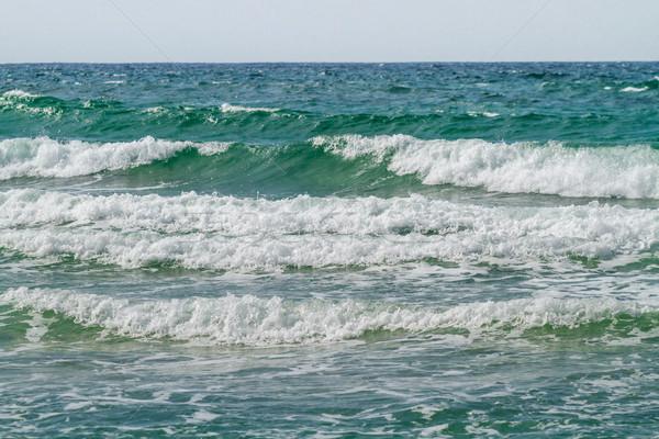 Stock fotó: Tengeri · kilátás · hullám · hullámok · fény · emelkedő · nap